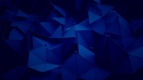 深蓝多角形表面3D翻译背景 库存照片