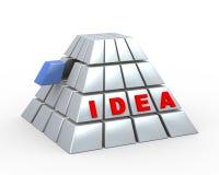 3d立方体金字塔和词想法 免版税库存图片