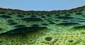 虚度与火山口3d翻译的表面或外籍人行星 库存照片