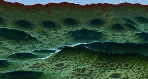 虚度与火山口3d翻译的表面或外籍人行星 免版税库存照片