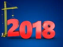 3d 2018 años con la grúa Imagen de archivo