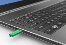 3d aandrijving van de usbflits die met laptop wordt verbonden Stock Afbeeldingen