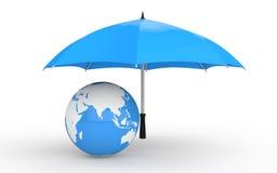 3d aardebol onder paraplu Stock Foto's