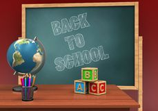 3d abc cubes. 3d illustration of board with back to school text and abc cubes Stock Photos