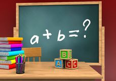 3d abc cubes. 3d illustration of board with math exercise text and abc cubes Royalty Free Stock Photo