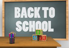 3d abc cubes. 3d illustration of chalkboard with back to school text and abc cubes Royalty Free Stock Photo