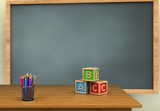 3d abc cubes. 3d illustration of chalkboard with abc cubest and Stock Photography