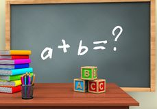 3d abc cubes. 3d illustration of chalkboard with math exercise text and abc cubes Stock Photos