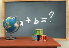3d abc cubes. 3d illustration of chalkboard with math exercise text and abc cubes Stock Photo