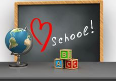 3d abc cubes. 3d illustration of grey chalkboard with love school text and abc cubes Stock Photo