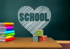 3d abc cubes. 3d illustration of schoolboard with heart and school text and abc cubes Stock Photo