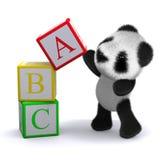 3d ABC Panda balances a block. 3d render of a panda playing with a tower of alphabet blocks Stock Image