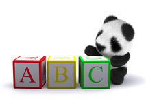 3d ABC Panda. 3d render of a panda playing with alphabet blocks Royalty Free Stock Images