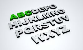 3D ABC text green grey. 3D Illustration ABC letters green and grey Royalty Free Stock Photo