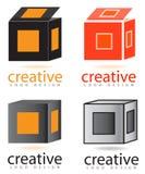 3D abrem o logotipo da caixa Imagens de Stock