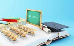 3d abren el libro con los objetos Concepto de la educación Foto de archivo