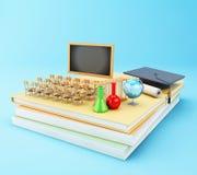 3d abren el libro con los objetos Concepto de la educación Foto de archivo libre de regalías
