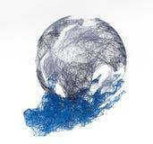 3D abstração photorealistic, plexo do fio, terra do planeta da terra arrendada da mão no fundo branco isolate ilustração do vetor
