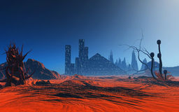 3D abstract alien planet. 3D render of a fantasy alien planet Stock Photo