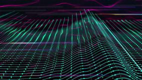 3D abstract animation of colorful sound wave equalizer. In 3d abstract terrain wireframe moving and bouncing in a wave form. stock illustration