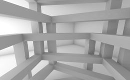3d Abstract architecture background, white constructions. 3d Abstract architecture background. Internal space of white chaotic braced construction Stock Photo