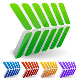 3d abstract arrow like shapes pointing right Stock Image