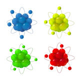3d abstract atom structure. Abstract Atoms structure. 3d vector protons neutrons and electrons. Science concept Stock Illustration