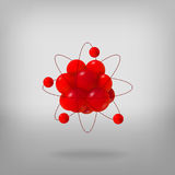 3d abstract atom structure. Abstract molecules. Atoms. 3d vector illustration. Science concept. Proton electron and neutron Royalty Free Stock Images