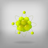 3d abstract atom structure. Abstract molecules. Atoms. 3d vector illustration. Science concept. Proton electron and neutron Stock Photography