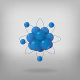 3d abstract atom structure. Abstract molecules. Atoms. 3d vector protons neutrons and electrons. Science concept Stock Photos