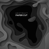 3D abstract background with black paper cut shape. S. Vector design layout for business presentations, flyers, posters Royalty Free Illustration