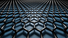 3D abstract background. 3D blue color abstract cellular lattice background stock illustration