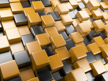3d abstract background of cubes orange and black Royalty Free Stock Images
