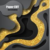 3D abstract background with gold and black shapes paper cut shapes. 3D papercut layers vector background design. Abstract topography concept or smooth origami stock illustration