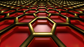 3D abstract background. 3D golden abstract cellular lattice on a red background Stock Images