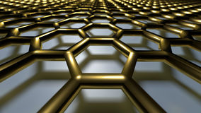 3D abstract background. 3D golden color abstract cellular lattice background Stock Photo