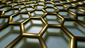 3D abstract background. 3D golden color abstract cellular lattice background Stock Images