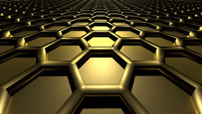 3D abstract background. 3D golden color abstract cellular lattice background Stock Image