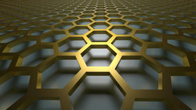 3D abstract background. 3D golden color abstract cellular lattice background Stock Photos