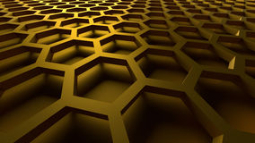 3D abstract background. 3D golden color abstract cellular lattice background Royalty Free Stock Photography