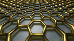 3D abstract background. 3D golden color abstract cellular lattice background royalty free illustration