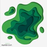 3D abstract background with green paper cut shapes. Vector design layout for business presentations, flyers, posters and. Invitations. Colorful carving art Stock Illustration