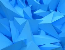 3D abstract background. Illustration of geometric stones. 3D rendering abstract background. Illustration of blue geometric stones Royalty Free Stock Photo