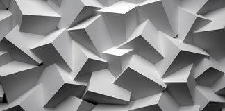 3D abstract background. Illustration of geometric stones. 3D rendering abstract background. Illustration of gray geometric stones Royalty Free Stock Photo