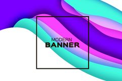 3D abstract background with paper cut shapes. .Layered tunnel landscape wave background. Modern banner. Shadows box. Vector design for business presentations Royalty Free Stock Photo