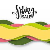 3D abstract background with paper cut waves. Paper carving art.  Modern origami design template. Spring sale lettering calligraphy text Stock Photos