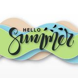3D abstract background with paper cut waves. Hello summer lettering. Paper carving art. Modern origami design template Royalty Free Stock Photography