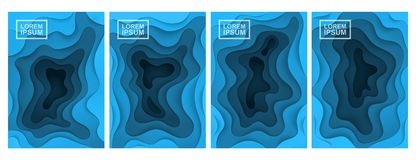 3D abstract background. A set of four options. Layers cut from paper. stock illustration