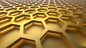 3D abstract background. 3D yellow color abstract cellular lattice background Stock Image