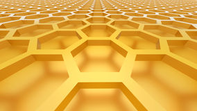 3D abstract background. 3D yellow color abstract cellular lattice background stock illustration